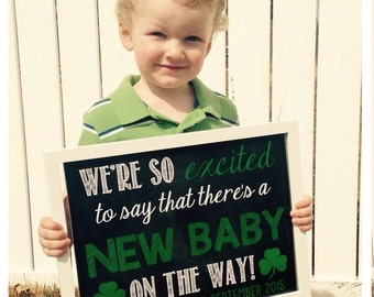 St Patrick's Day Pregnancy Announcement Lucky Announcement Shamrock Irish Green Pregnancy