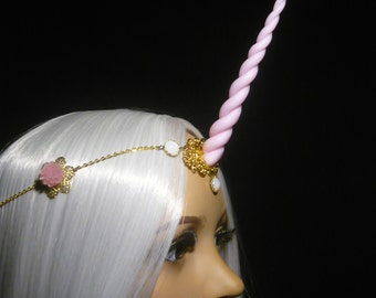 Springbreeze Unicorn - Tiara with handsculpted pearlescent horn