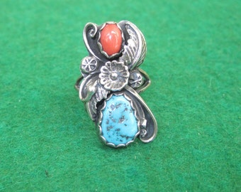 Vintage 1960's Dan Whitegoat Navajo Native American Indian Sterling Ring - Turquoise & Coral - Free Shipping