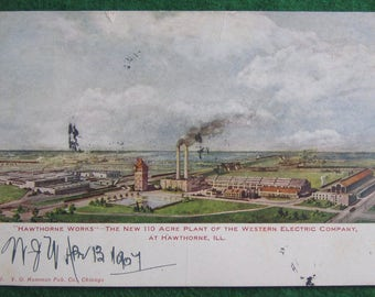 Original 1907 Hawthorne Works Western Electric Chicago Plant Advertising Postcard - Free Shipping