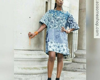 Carla Blue Ankara patchwork dress African clothing Africa Dress African Print Dress African Fashion Women Clothing Short Dress Summer Dress