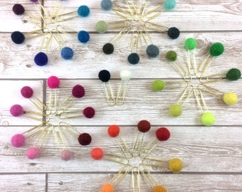 1 cm Pom Paper Clips // Assorted Colors // Planner Clip // Bookmark