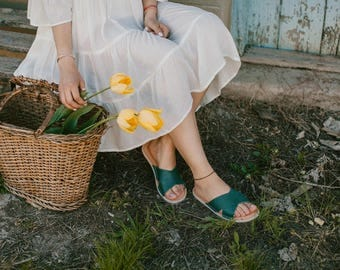 Flip-Flops, Leather Sandals, Flipflops, Leather Flip-Flops,  Women Sandals, Flat Sandals, Summer Sandals, Leather Flats, FlipFlops Sandals