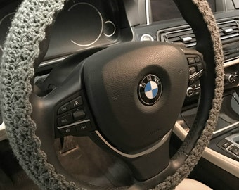 Steering wheel cover car cozy Decor crochet knit accessories car gift grey