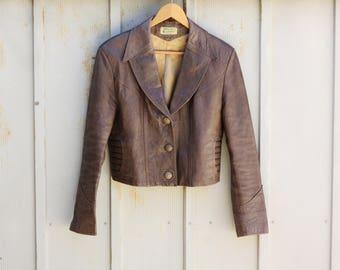 Distressed Brown Leather Jacket - 70s Motorcycle Jacket for Women - 1970s Cropped Jacket - Genuine Leather Hippie Jacket - Indie Boho Jacket