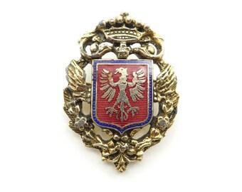 Vintage Crest Brooch, Heraldic