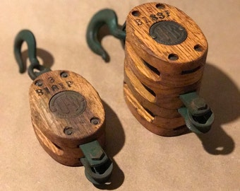 Vintage UW Single and Triple Block and Tackle Pulleys