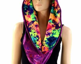 Reversible Infinity Festival Hood in Fuchsia Holographic & UV Glow Acid Splash - 154164