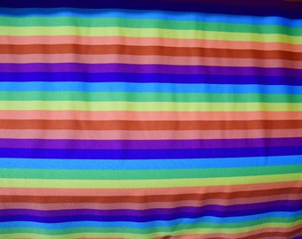 Rainbow Stripe Print Spandex Fabric Pride Parade Bright Bold Fun Prism Funky Colorful Merry Jolly Happy Freedom Neon Zebra (By the Yard)