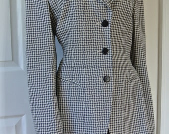 ESCADA by Margaretha Ley Wool Blend Blazer Peacoat Navy Blue Houndstooth Size 42/M/L