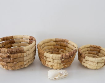 Woven Fiber Baskets - Set of 3