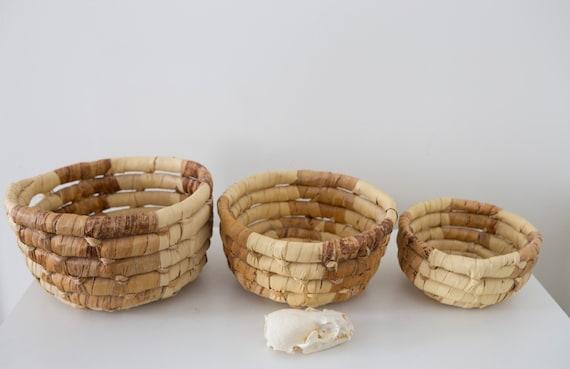 Woven Fiber Baskets - Set of 3