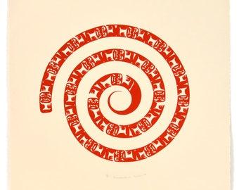 Vintage 1983 Nytom Indigenous Transcendence Print 21 x 21 Signed Numbered