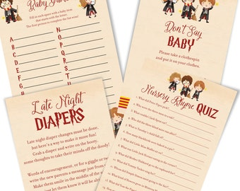Harry Potter Baby Shower Games - Harry Potter Baby Shower Game Cards - Cute Harry Potter Baby Shower Games - Immediate Digital Download