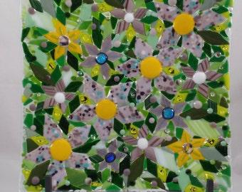 Twelve Inch Square  Purple Flowers Fused Glass Dish