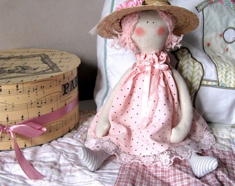Fabric doll  Tilda dolls Little girls gift Shabby chic doll  Gift for little girl Girls toys Pink Nursery Baby shower gift Country cottage