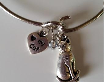 Silver Kitty Charm Bangle Bracelet