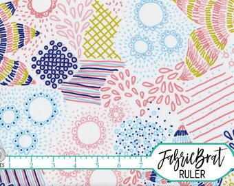 ZENDOODLE FLORAL Fabric by the Yard Fat Quarter Pink & Blue Hand Drawn Flowers Lines 100% Cotton Fabric Quilting Fabric Apparel Fabric t2-28