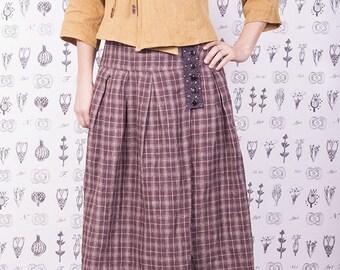 Linen dark purple checked skirt
