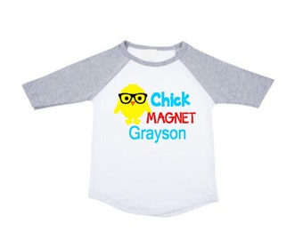 Personalized Chick Magnet Shirt Easter Shirt for Boys Easter Shirt Personalized Raglan Tee Bunny Shirt 1st Easter