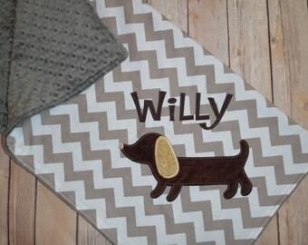 Dachshund Blanket - Personalized Minky Baby Blanket -  Chevron & Minky