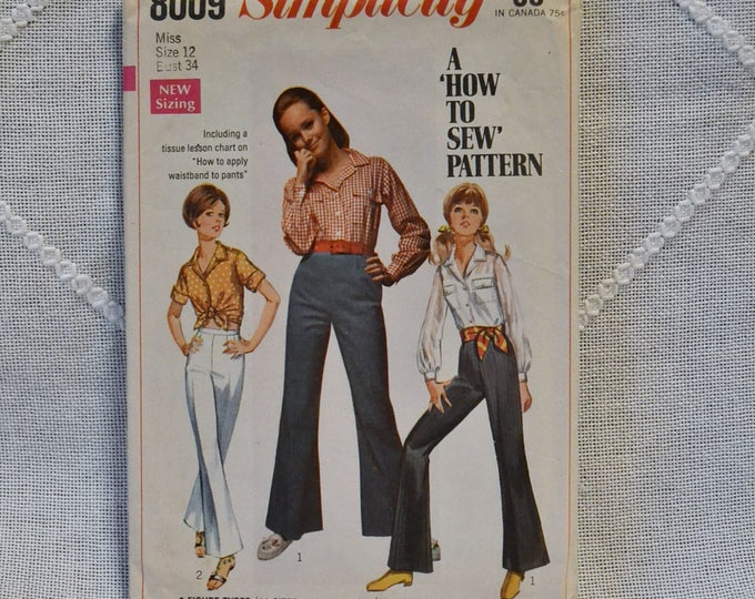 Vintage Simplicity 8009 Sewing Pattern Crafts Misses Shirt Bell Bottom Pants Size 12 DIY Sewing Crafts PanchosPorch