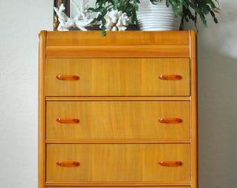 SOLD * Art Deco Waterfall Highboy 4-Drawer Dresser | Tall Dresser | Small Space Storage | Vintage Waterfall Dresser
