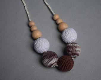 Crochet Nursing Necklace,teething ring, Breastfeeding Necklace, ,Teething necklace with crochet bead - baby shower gift - brown