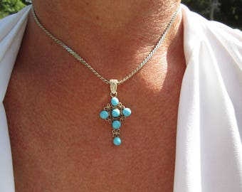 Ornate Turquoise (Composite) and Sterling Silver Cross Pendant and Necklace