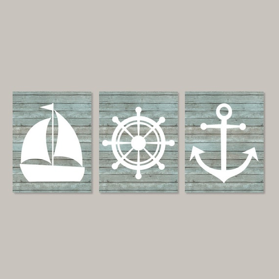 Nautical Bathroom Wall Decor : Nautical wall decor coastal art beach bathroom