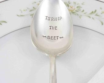 Serving Spoon, Table Decor, Hostess Gift Idea, Stamped Serving Spoon, Hand Stamped Spoon, Turnip the Beet, Vegetarian Gift Idea