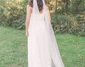 draped veil, bohemian veil, soft tulle veil, english net veil, boho veil, bridal veil, wedding veil, long ivory veil, chapel veil - JADE