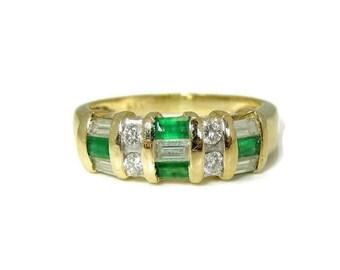 Diamond Emerald Baguette Ring 14k Gold Vivid Green Gemstones