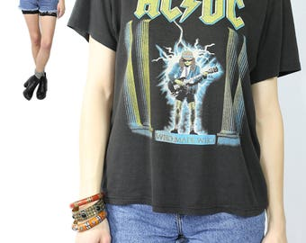 1986 ACDC Tour T-Shirt / Vintage Rock n Roll Tee / 86 Who Made Who Tour