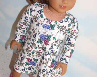 18 Inch Doll (like American Girl) Floral Print Fit & Flare Tee Shirt Dress with Lace Trim