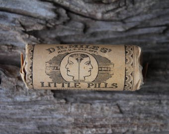 Antique Dr Miles Little Pills Unopened Corked Glass Vial - New Old Stock Medical Collectible
