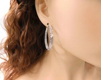 Silver Hoop Earrings Large Rhinestone Covered Silver Hoops Crystal Hoop Earrings Wide Big Silver Earrings Jewelry