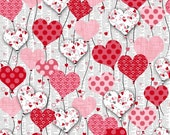 Valentine Fabric, Heart Balloon Fabric - Dear Heart by Studio e -  3588 02 Gray - Priced by the 1/2 yard