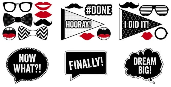 Fan image for free printable graduation photo booth props