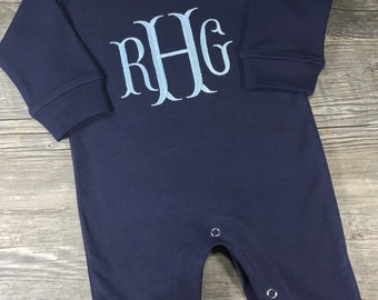 Baby Boy Coming Home Outfit, Monogrammed Personalized Romper, Custom Baby Boy, Baby Shower Gift, Newborn Pictures, Navy Romper