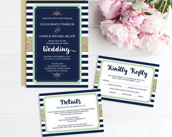 Wedding Invitation - Wedding Invite Template - Printable Wedding Invite - RSVP Card - Details Card - Instant Download - Wedding Invite Set