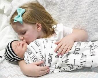 Custom Name Baby Blanket // Baby Blankets Personalized Swaddle Blanket Swaddle Baby Blanket Baby Blankets with Name Newborn Blanket Arrows
