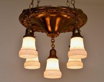 Refurbished Vintage Pan Light, Vintage Chandelier, Brass Chandelier, Chic Lighting