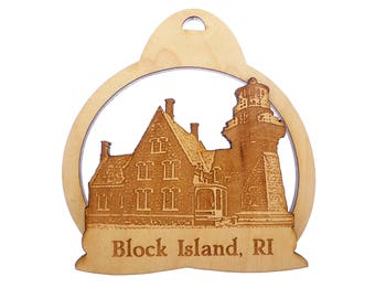 Block Island Lighthouse - Block Island Lighthouse Christmas Ornaments - Block Island Rhode Island - Wooden Lighthouse