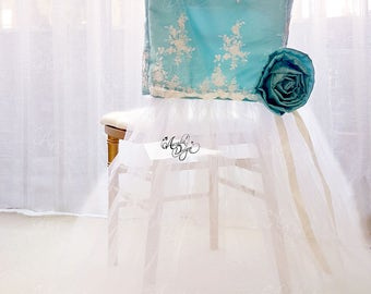 Turquoise Lace & Ribbon Flower Chair Slipcover | Chiavari Chair decoration for Classic Wedding Bridal Shower Bachelorette Sweet 16 Party