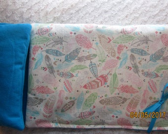 READY to SHIP NOW Feathers fabric Sleeping Bag will fit 18 inch American Girl Dolls, birthday party
