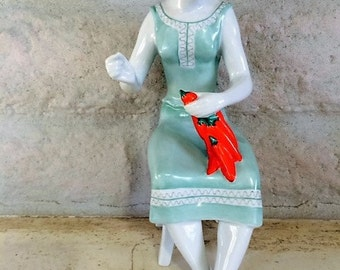Hungarian Porcelain, Hollohaza Figurine, Hand Painted, Made in Hungary, Young Woman Figurine, Stringing Peppers, Weekend Sale