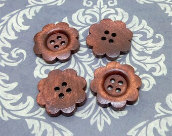 23mm x 50pcs Brown Color 4 Holes Wood Button for Sewing, Craft, Scrapbook B416
