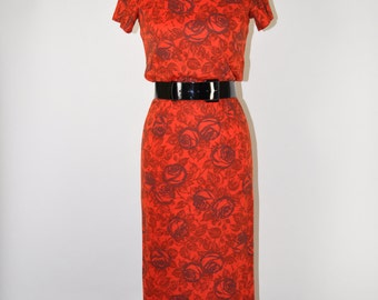 50s rose print dress / 1950s red floral dress / red and black wiggle dress