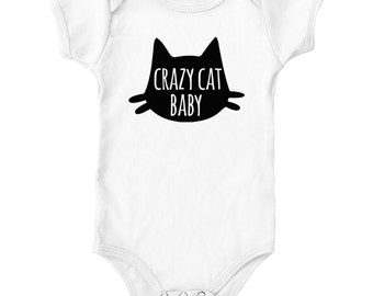 Crazy Cat Baby Bodysuit Grows Rompers Shirt | Gifts for Newborns | Baby Shower Gifts | Pregnancy Gifts